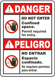 Bilingual Danger Do Not Enter Permit Required Label