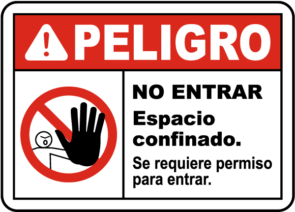 Spanish Do Not Enter Confined Space Permit Required Sign