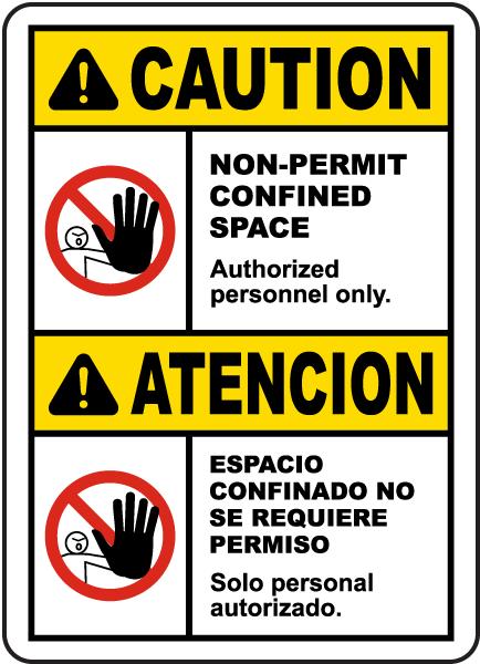 Bilingual Caution Non-Permit Confined Space Sign