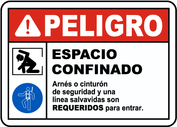 Spanish Danger Confined Space Sign