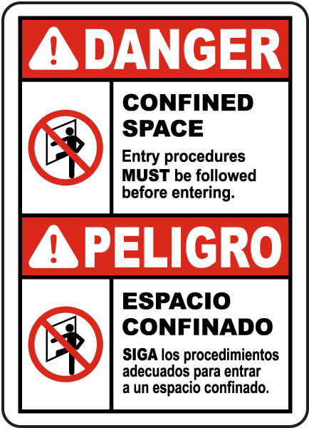 Bilingual Entry Procedures Must Be Followed Sign