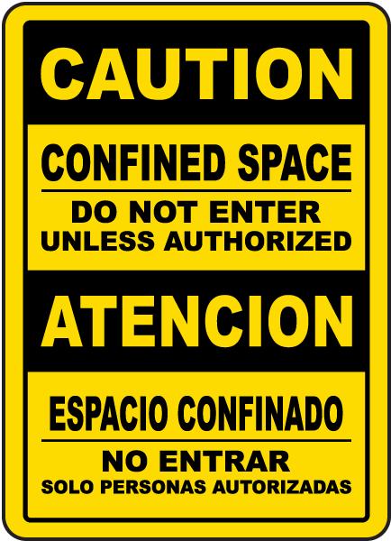 Bilingual Caution Do Not Enter Unless Authorized Sign