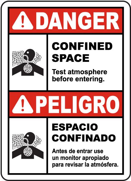 Bilingual Danger Test Atmosphere Before Entering Label