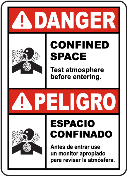 Bilingual Danger Test Atmosphere Before Entering Sign