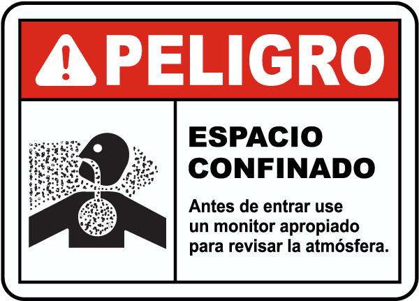 Spanish Danger Test Atmosphere Before Entering Sign