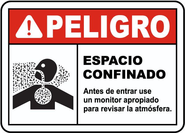Spanish Danger Confined Space Test Atmosphere Sign