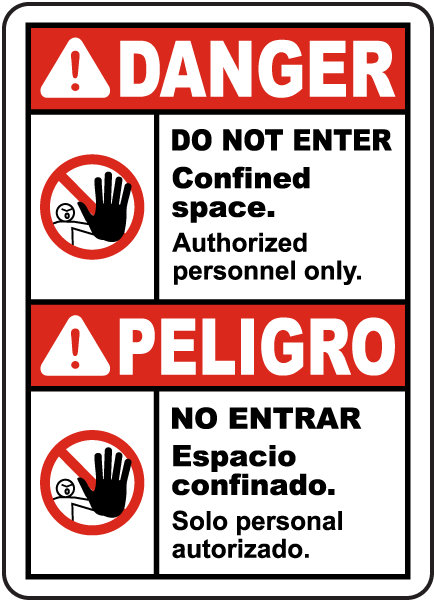 Bilingual Danger Do Not Enter Authorized Personnel Only Label
