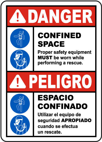 Bilingual Danger Safety Equipment Must Be Worn Sign