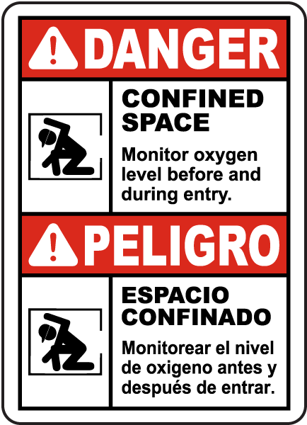 Bilingual Monitor Oxygen Level Before Entry Sign