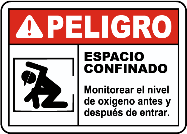Spanish Monitor Oxygen Level Before Entry Sign