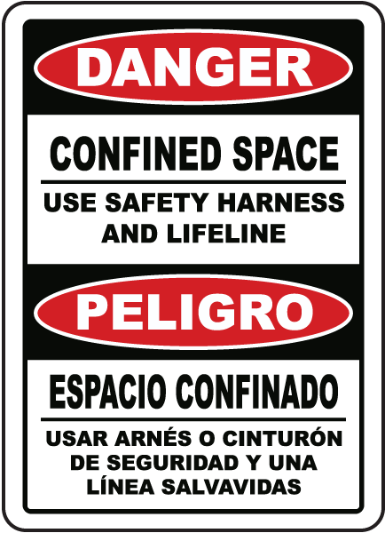 Bilingual Danger Use Safety Harness and Lifeline Sign