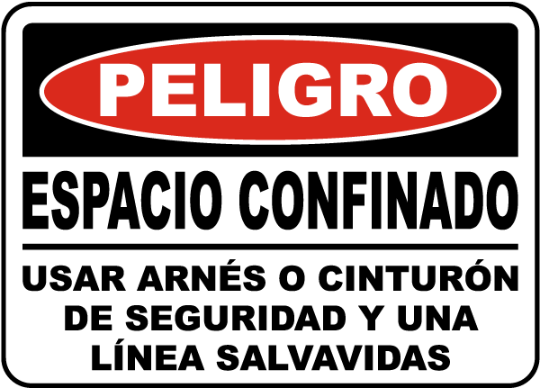 Spanish Danger Use Safety Harness and Lifeline Sign