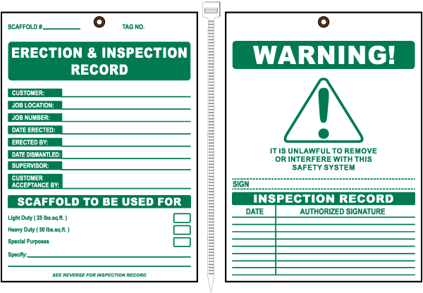 Erection & Inspection Record Scaffold Tag
