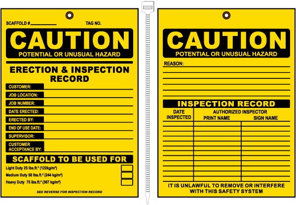 Caution Erection & Inspection Record.. Tags