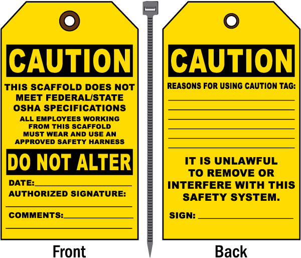 Does Not Meet OSHA Specifications Tag