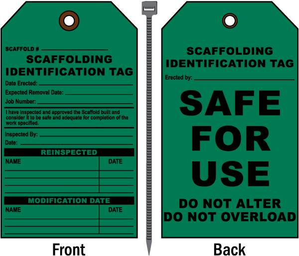 Scaffolding Identification Tag / Safe For Use.. Tags