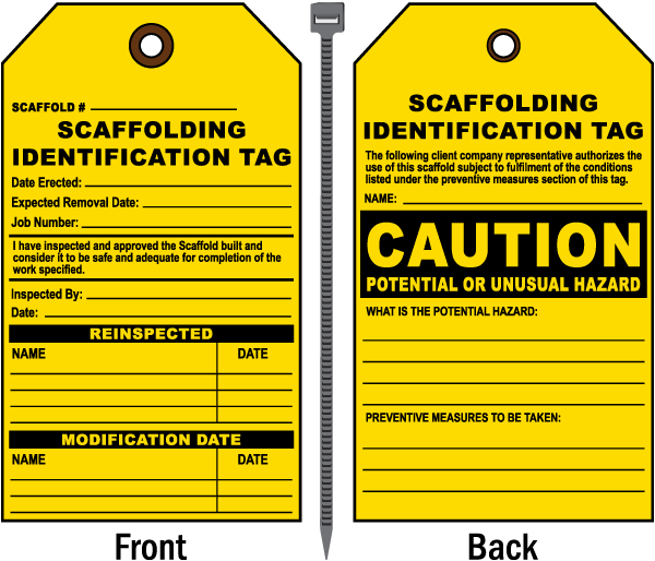 Scaffolding Identification Tag / Caution Potential Or Unusual Hazard.. Tags