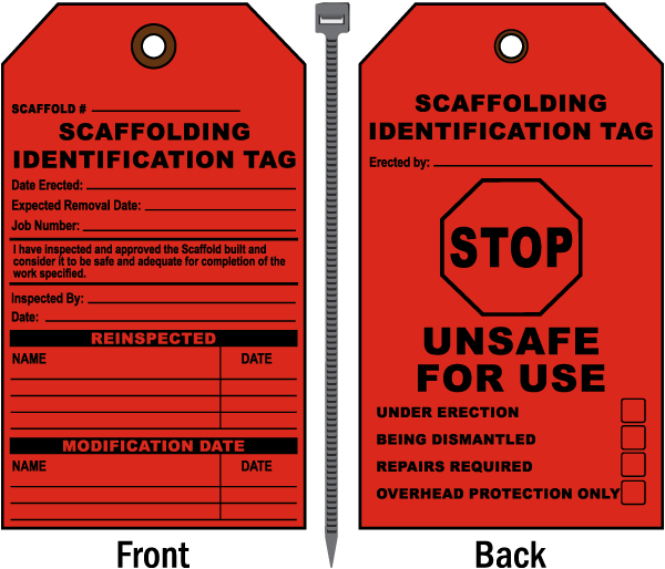 Scaffolding Identification Tag / Stop Unsafe For Use.. tags