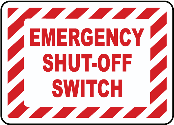 Emergency Shut-Off Switch Label
