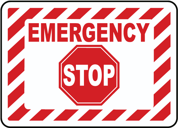 Emergency Stop Label