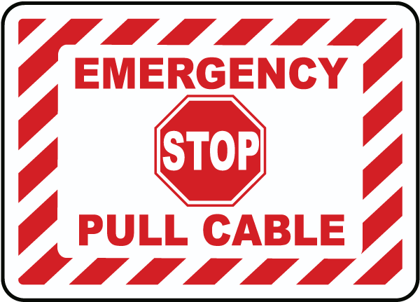 Emergency Stop Pull Cable Label