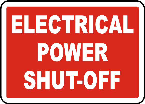 Electrical Power Shut-Off Label