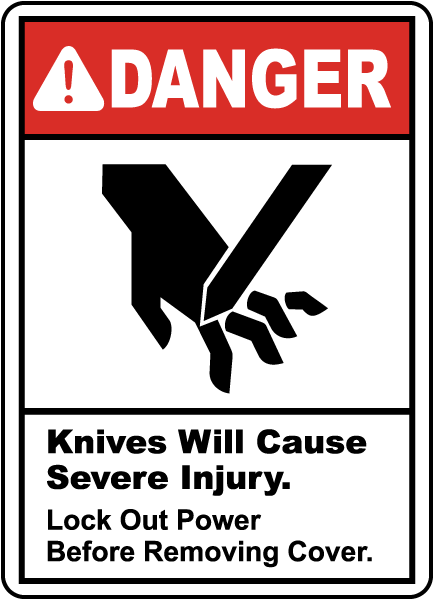 Knives Will Cause Severe Injury Sign