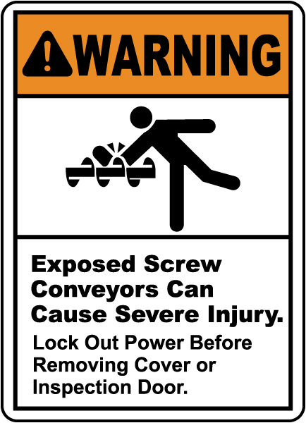Warning Exposed Screw Conveyors, E2221