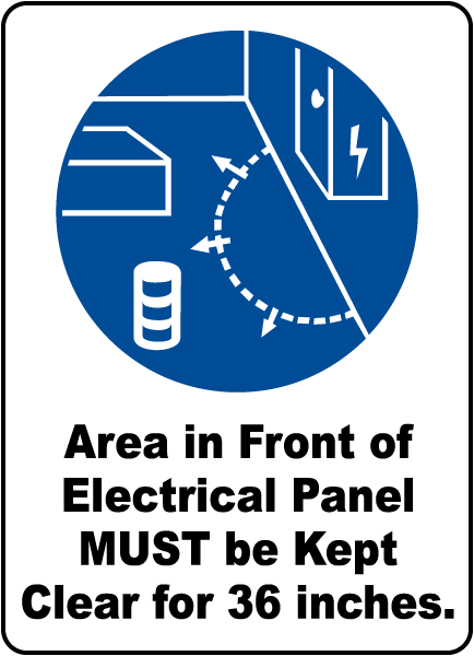 Area Must Be Clear For 36 Inches Sign