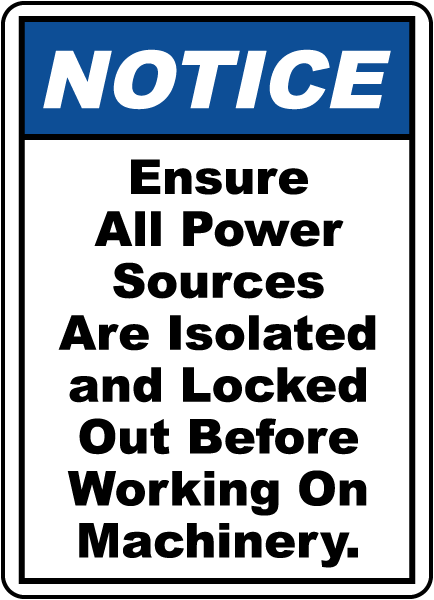 Ensure All Power Sources Sign