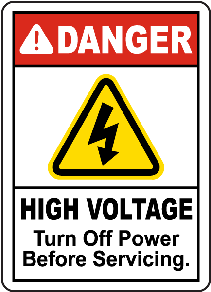 High Voltage Turn Off Power Label