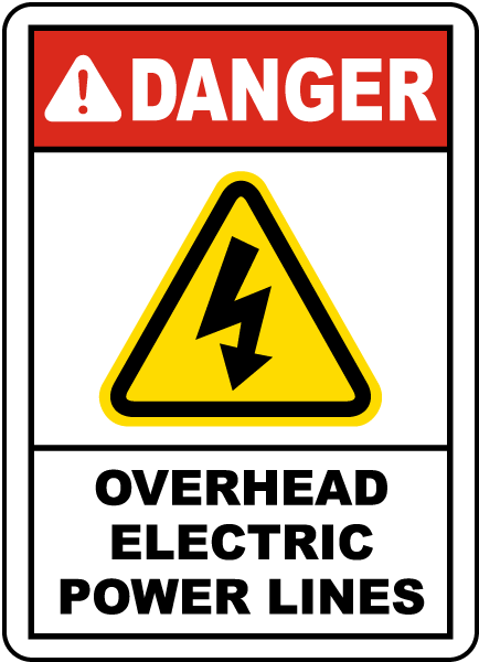 Danger Overhead Electric Power Lines, E2256