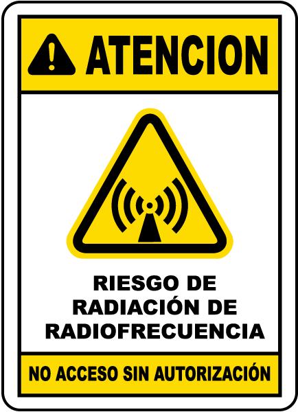 Spanish RF Radiation Hazard No Unauthorized Sign