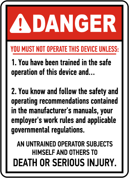 Device Operation Rules Sign