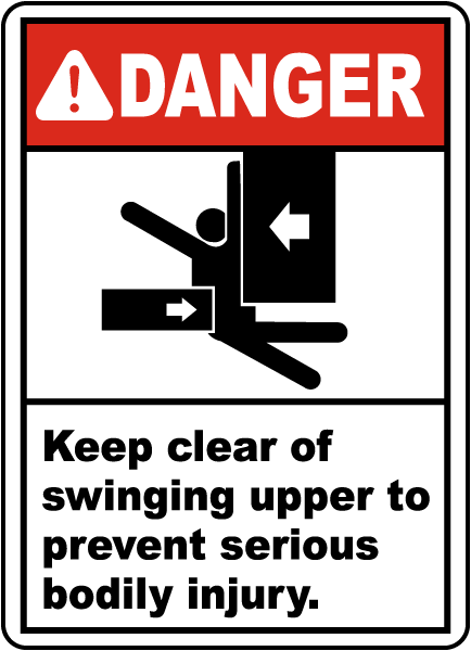 Keep Clear of Swinging Upper Sign