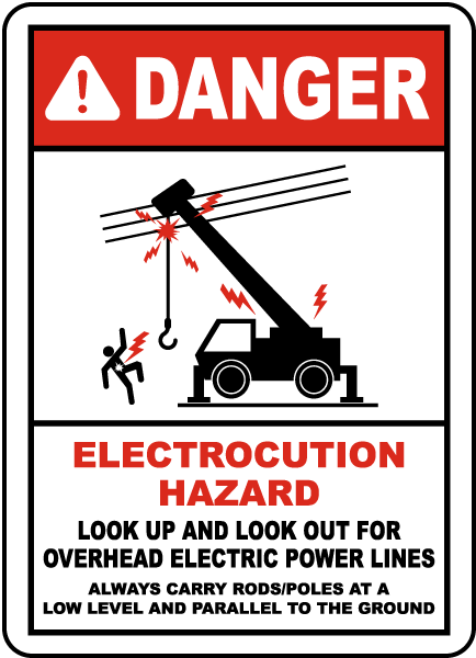 Look Up and Look Out For Power Lines Sign