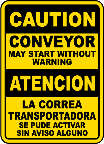Bilingual Conveyor May Start Without Warning Sign