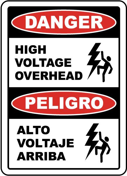 Bilingual Danger High Voltage Overhead Label