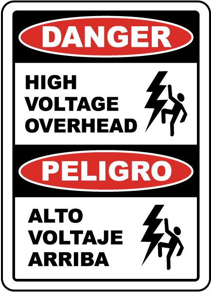 Bilingual Danger High Voltage Overhead Label