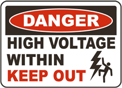 Danger High Voltage Within Keep Out