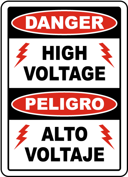 Bilingual Danger High Voltage Label