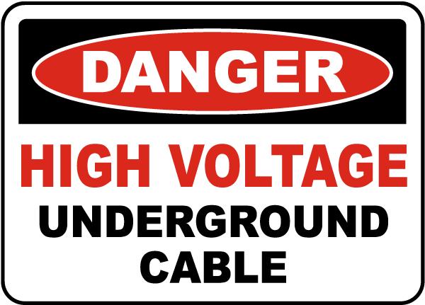High Voltage Cable Underground Label