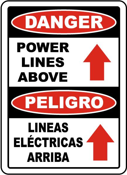 Bilingual Danger Power Lines Above Sign