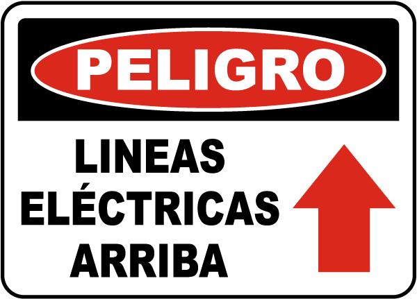 Spanish Danger Power Lines Above Sign