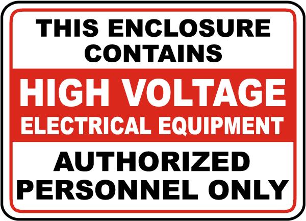 High Voltage Equipment Sign