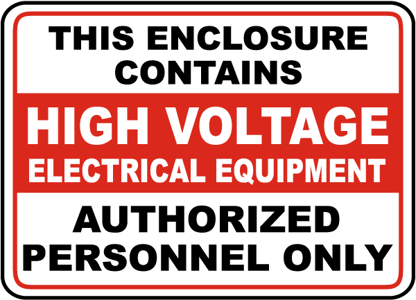 High Voltage Equipment Sign