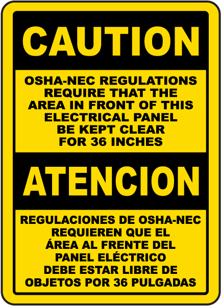 Bilingual OSHA-NEC Regulations Sign