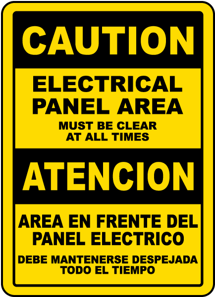 Bilingual Electrical Panel Area Must Be Clear Sign