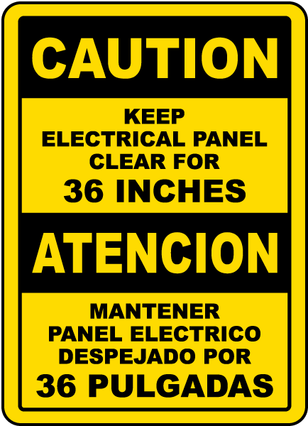 Bilingual Keep Electrical Panel Clear For 36 Inches Sign