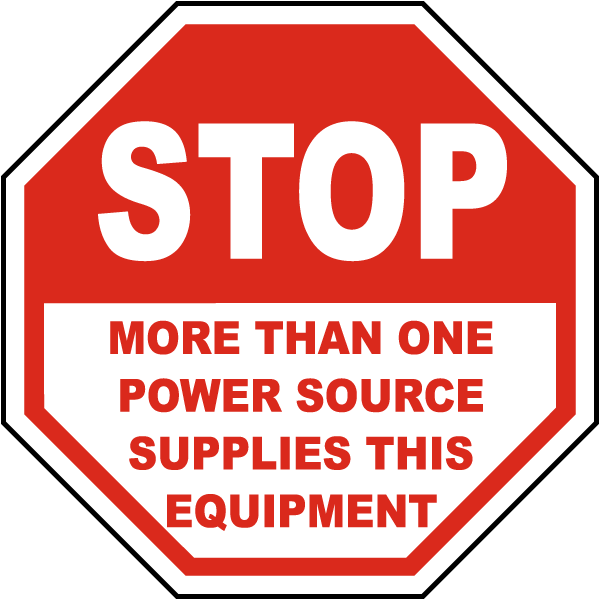 Stop More Than One Power Source Label